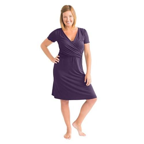 8eb8ae5d44e3c Angelina Ultra Soft Maternity & Nursing Nightgown Dress - Large - Eggplant