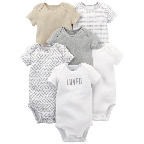 e3a0dd29c Simple Joys by Carter's Baby 6-Pack Neutral Short-Sleeve Bodysuit, White/Gray,  0-3 Months