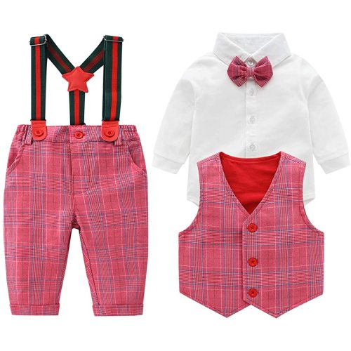 Infant Long Sleeve Shirt+Bib Pants+Bow Tie Vest Clothes Set Baby Boys Gentleman Outfits Suits