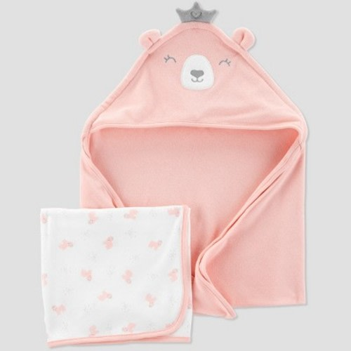 e665f87b1 Baby Girls' Bear Bath Towel Set - Just One You® made by carter's Pink/White  One Size