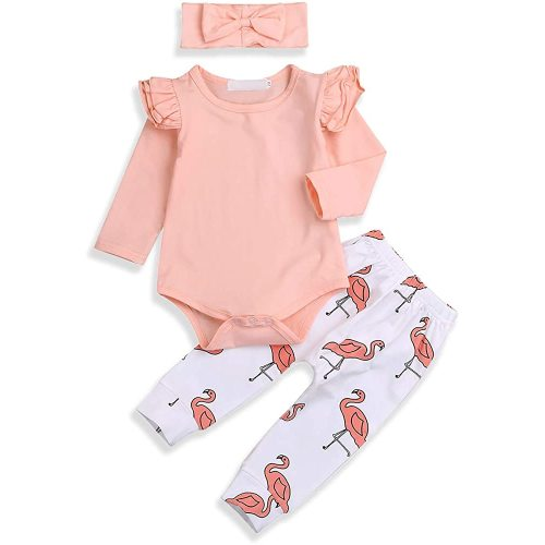 3Pcs Baby Girl Pink Ruffle Romper Long Sleeve Bodysuit Tops Flamingo Pants and Headband Outfits Set