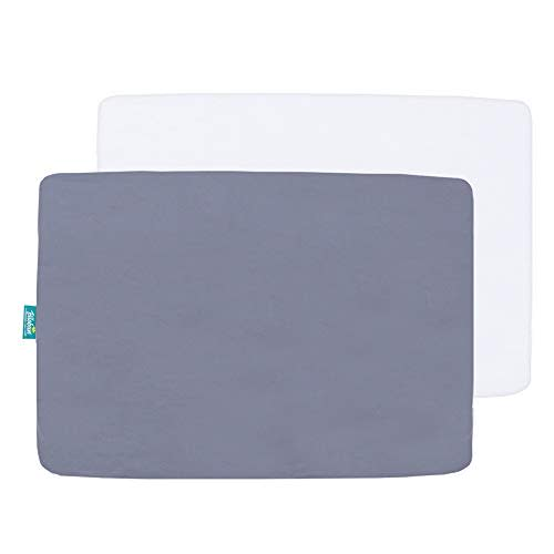 White /& Grey Mini Crib Sheets 2 Pack Portable Playard Preshrunk Pack And Play Sheet Fitted Ultra Soft Microfiber Pack N Play Sheets