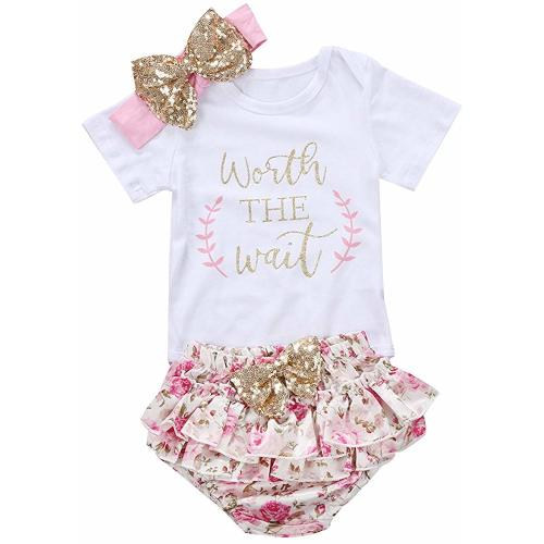 d9a5fb0a1e01b 3PCS Baby Girls Worth The Wait/Daddy's Girl Print Outfit Clothes Romper  Bodysuit Pants Headband Set
