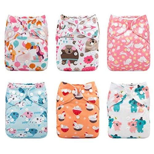 Lilbit Baby 6pcs Pack Washable Adjustable One Size Cloth Diapers with 6 PCS Five Layers Bamboo Charcoal Inserts Ymxtzzh15