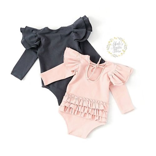 Lzxuan Newborn Infant Baby Girls Romper Colourful Heart Print Flare Sleeve Jumpsuit Playsuit with Bowknot Headband