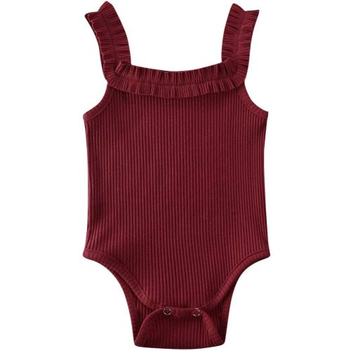 WALLARENEAR Toddler Baby Girls Sleeveless Romper Ruffle One-Piece Bodysuit Jumpsuit Summer Clothes Outfit 0-24M