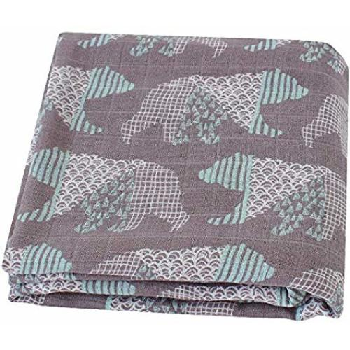 HGHG Soft Cotton Muslin Swaddle Blankets Premium Receiving Blanket for Boys /& Girls 47 x 47 Baby Bear Blanket