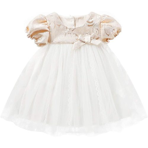 Curipeer Baby Girl Christening Dress Classic Infant Baptism Wedding Tulle Dress for Spring Summer