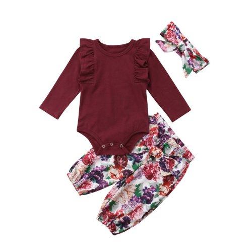 b4d09ac44d1c2 3PCS Clothes Set Newborn Toddler Baby Girl Romper Bodysuit Jumpsuit Floral  Halen Pants Outfit Clothes (0-6 Months, Purple)