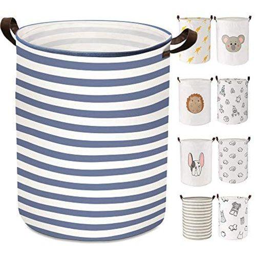 21.65 Large Laundry Basket ULG 76.16L Collapsible Fabric Laundry Hamper Canvas Organizer Basket Nursery Hamper Storage Bin for Laundry Nursery Bathroom Toys Gray Stripe