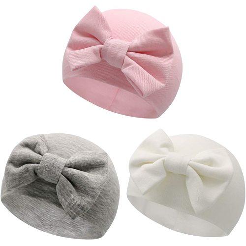 Sarfel Newborn Hats for Girls Hospital Hat Baby Girl Bows and Headbands Infant Beanie Nursery Caps