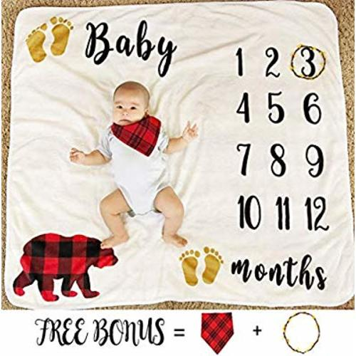 29bddd935 Baby Monthly Milestone Blanket for Boy Girl, Large Personalized Photography  Background Blankets, Thick Fleece for Mom Newborn Baby Shower Gifts + Bib +  ...