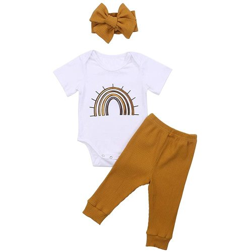 Thorn Tree Newborn Baby Girls Boys Clothes Cotton Suit Cute Baby Kid Infant Romper Play Wear Summer Sunsuit Rainbow Outifts