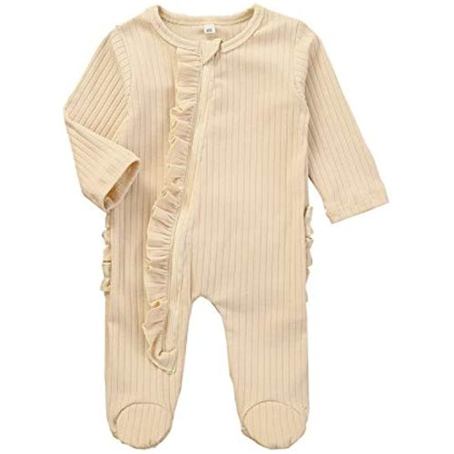 Newborn Baby Boy Girl Zipper Footed Pajamas Ribbed Ruffle One Piece Footie Romper Jumpsuits Sleeper Pjs