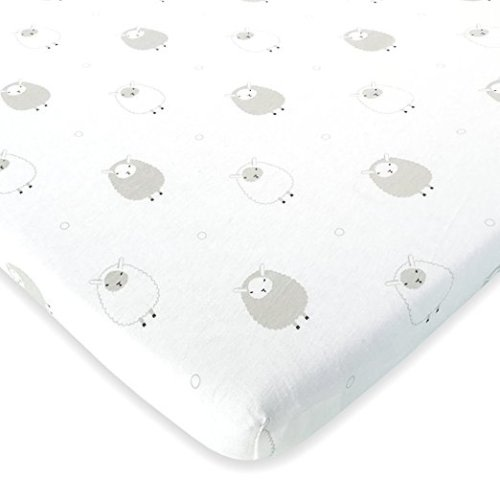 Sheep and Stripe in Grey 100/% Jersey Cotton Unisex Mini Portable Crib Sheets Best Baby Shower Gift Fits Graco 2 Pack Playard Sheet For Baby Girl and Boy Cuddly Cubs Pack n Play Sheets