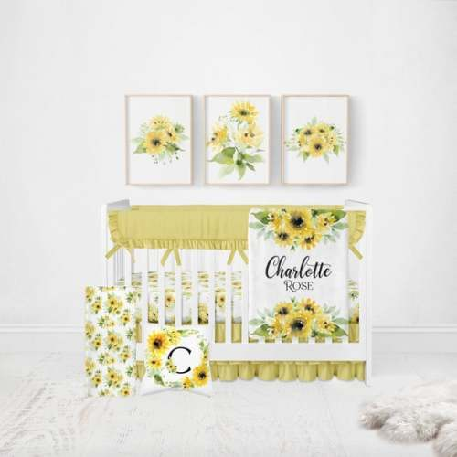 Girls Floral Neutral Baby Accessories Baby Towels Portable Change Mat Cover Sunflowers Burp Cloth