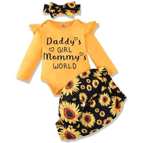 Honykids Newborn Baby Girl Romper Jumpsuit Bodysuit Pants Shorts+Headband Outfit Set