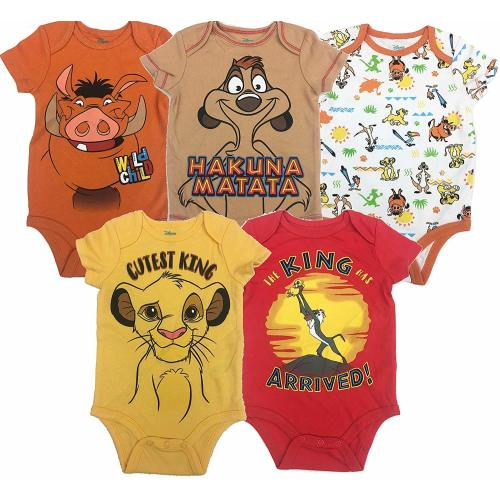 b56685a6c Disney Lion King Baby Boys' 5 Pack Bodysuits Simba Timon Pumbaa, 0-3 Months