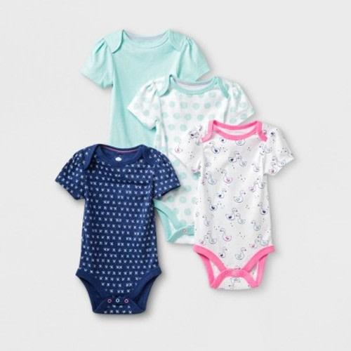 158df23cb Baby Girls' 4pk Short Sleeve Bodysuit - Cloud Island™ Blue/White, Size:  Newborn · Target$9.99