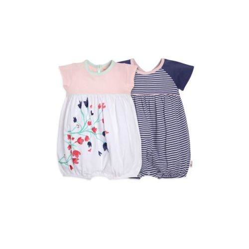 Burts Bee/'s NEW with Tags-Organic Baby Bethel Woods Bubble Romper 2 Pack-9M