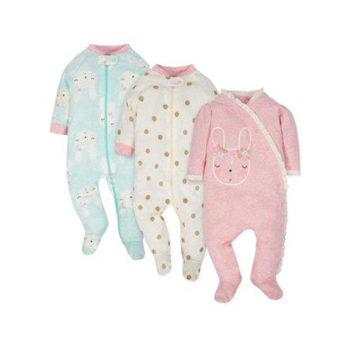 d4658e004 Gerber Organic cotton sleep n play, 3pk (baby girl) - GLITTER DOTS - Newborn