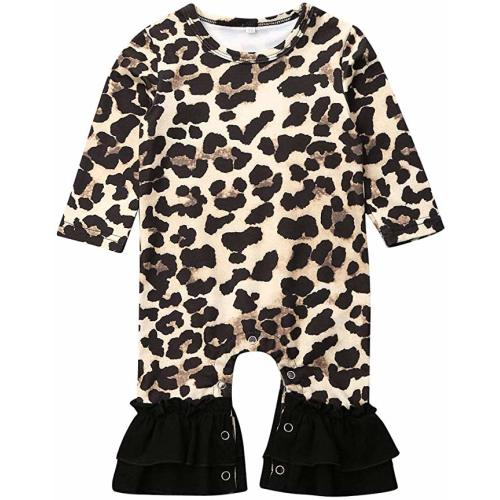 Muasaaluxi Newborn Infant Baby Girls Boys Long Sleeve Romper Leopard Print Footie Jumpsuit Bodysuit Pajamas Outfits