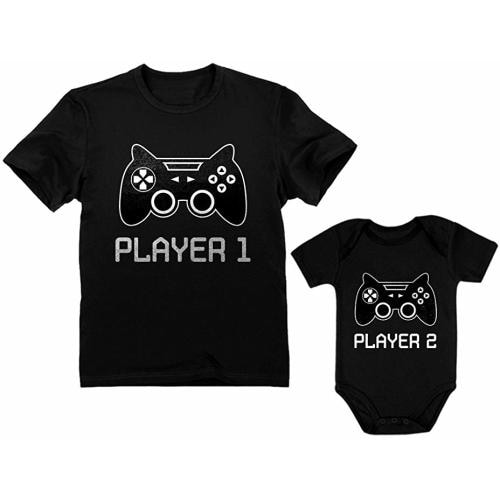 dce11982a Gamer Shirts for Father & Son/Daughter Player 1 Player 2 Men Tee Baby  Bodysuit - Dad Black / Baby Black