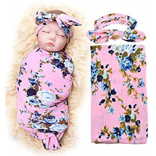 387d4d4bb Receiving Blanket with Headbands BQUBO Newborn Baby Floral PrintedBaby  Shower Swaddle Gift 1 Pack - 1 Pack Pink With Headbands