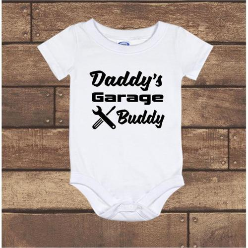 2a92baead Daddy's Garage Buddy - Pregnancy Announcement - baby Onesie bodysuit - long  sleeve - short sleeve - Newborn to 24 Months , White, 3-6 months US kids'  ...