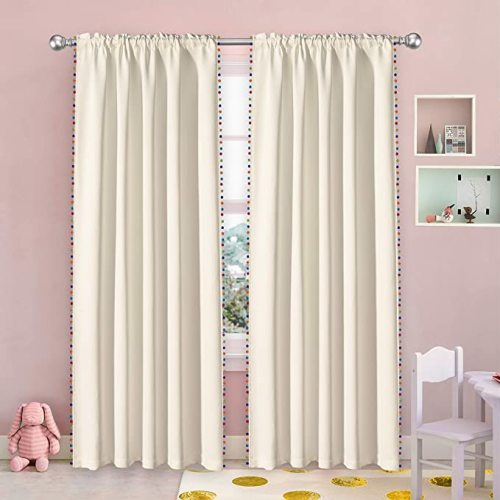 52x84 inch Thermal Insulated Curtains Noise Reducing Light Blocking Rod Pocket Window Drapes for Boys and Girls Bedroom Vanilla Set of 2 Panels LORDTEX Multi Color Pom Pom Curtains for Kids Room