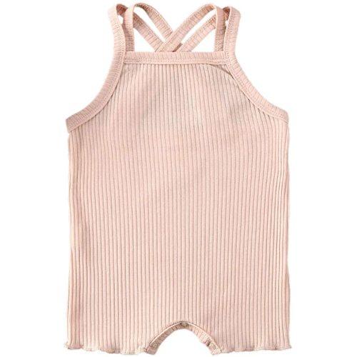 Leesiy Newborn Baby Girl Ribbed Romper Long Sleeve Ruffle Jumpsuit Unisex One Piece Solid Color Bodysuit