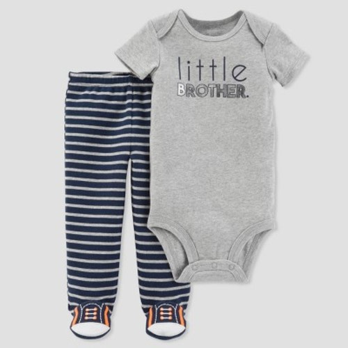 bc3b6a1d1 Baby Boys' 2pc Little Brother Footed Pants Set - Just One You™ Made by  Carter's® Gray