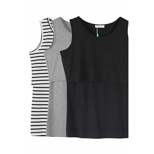 7609f774eb8 Smallshow Women's Sleeveless Maternity Nursing Tank Tops Breastfeeding  Clothes - Black Stripe/Black/Grey(cotton)