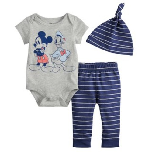 ab428cda1 Disney's Mickey Mouse & Donald Duck Baby Boy Graphic Bodysuit, Striped  Pants & Hat Set by Jumping Beans®