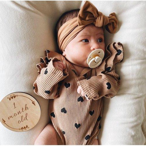 headband Romper Natural Linen hat. Pooh and Tigger Baby Clothes