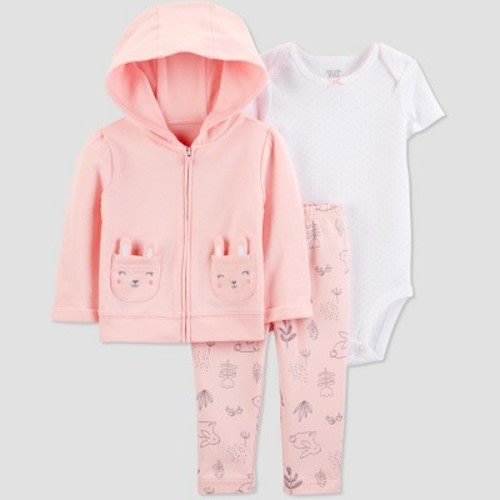 ae0708959 Baby Girls' 3pc Bunny Cardigan Set -Just One You® made by carter's Peach/ White 6M