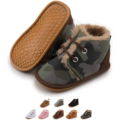 Zoolar Baby Warm Boots Newborn Boy Girl Cozy Fur Shoes Lace Up Toddler Booties First Walker Winter Crib Boots