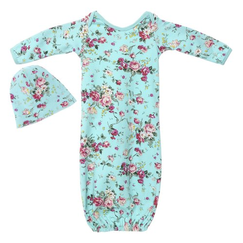 17475be72fe6a Posh Peanut Baby Gown Soft Viscose from Bamboo Girl's Layette Comfortable  Newborn Swaddle Wear (Aqua Floral)