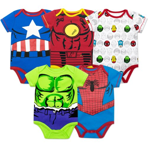 4f8274be8 Marvel Baby Boys' 5 Pack Onesies - The Hulk, Spiderman, Iron Man and  Captain America (3-6 Months)