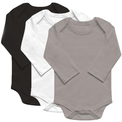 Organic Basics Long Sleeve Bodysuit 3-Pack - Neutral