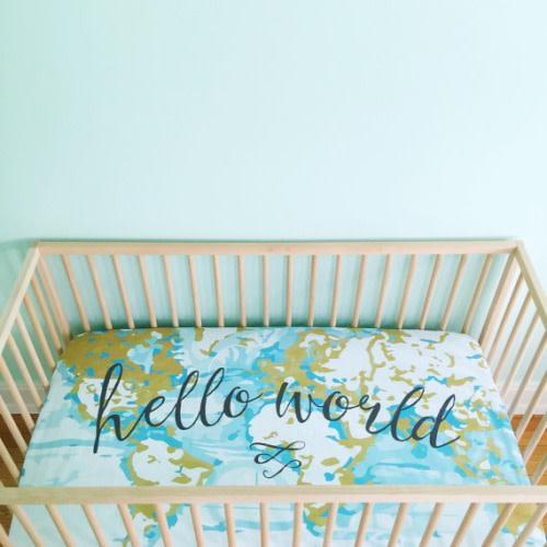 Aqua Hello World Crib Sheet - $65.00
