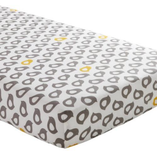 The Land of Nod Yellow & Grey Chick Print Crib Sheet - $24.00
