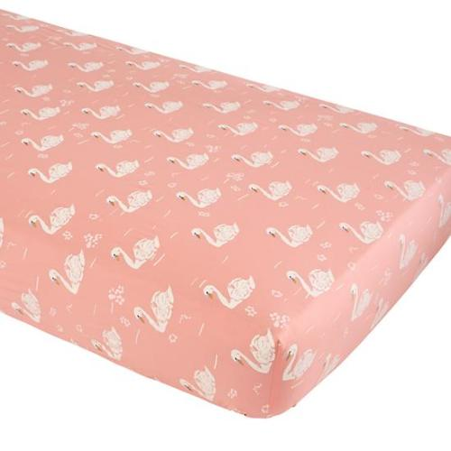 The Land of Nod Pink and White Swan Crib Sheet - $24.00