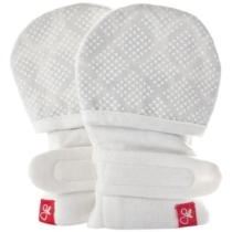 guavamitts - smart, stay on baby mittens - 1 pack, diamond dots (cream)