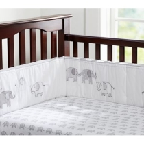 Gray Elephant Crib Fitted Sheet