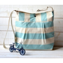 Diaper bag STOCKHOLM Pale Turquoise and Ecru Striped  by ikabags