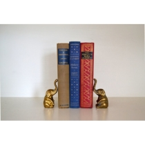 Vintage Brass Mini Elephant Bookends Regency Gold by saltandginger