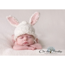 Custom Made Bunny Hat with Adorable White and Pink by 1kybele