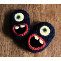 Wool Monster Slippers by HandKnitHugs on Etsy