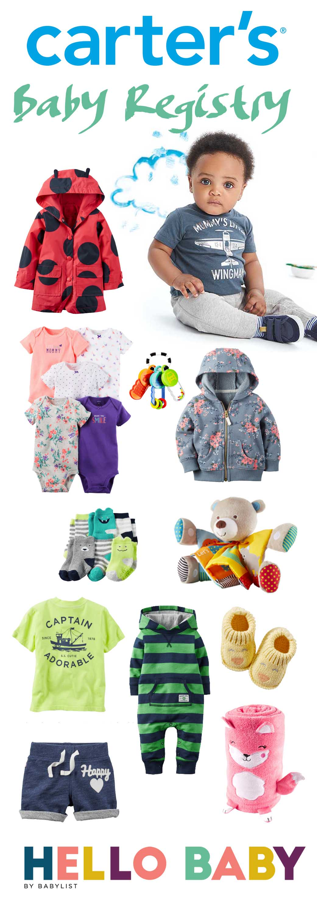 Carters has cute, affordable and often clever clothing options for your baby registry that will make you smile. Take a look at some of our favorites.
